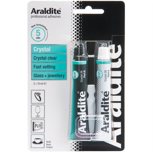 Keo dán đa năng Araldite Crystal trong suốt 2 thành phần 15mlx2